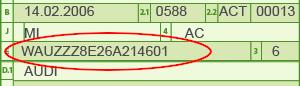 Fahrzeug-Identifizierungsnummer im Fahrzeugschein
